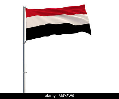 Flag of Yemen on the flagpole fluttering in the wind on a white background, 3d rendering - Stock Photo