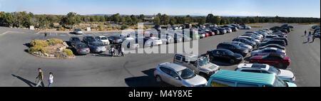 Desert View Grand Canyon 2017 Parking Assessment  Description: Stiched image of Desert View automobile parking lot - Stock Photo