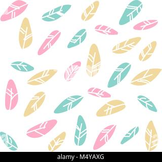 Tribal flat feather different style bird vintage colorful ethnic hand drawn element decorative drawing nature quill - Stock Photo