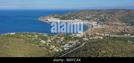 Spain Costa Brava aerial view panorama of the bay and town El Port de la Selva in Catalonia, Alt Emporda, Girona, - Stock Photo