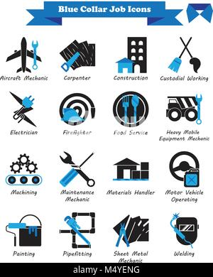 Vector Illustration Ready-To-Use 16 Blue Collar Job - Black And Blue Flat Icons As Multiple Professions Involved - Stock Photo
