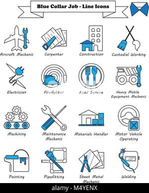 Vector Illustration Ready-To-Use 16 Blue Collar Job - Line Icons Designed as Multiple Professions Involved In Worker, - Stock Photo