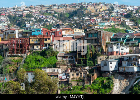 View over the colorful houses of Valparaiso in Chile - Stock Photo