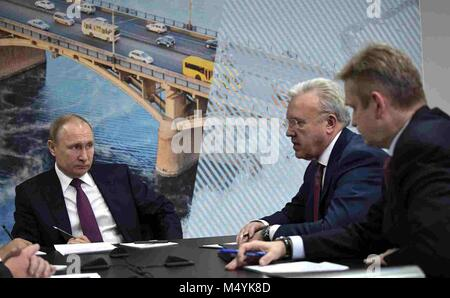 Russian President Vladimir Putin meets with business leaders to discuss the environmental situation in the Krasnoyarsk - Stock Photo