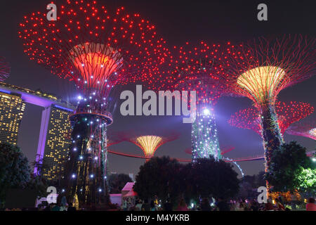 Supertree grove at Gardens by the Bay in Singapore lit up at night. - Stock Photo