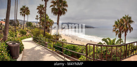 Overcast Summer sky over Main Beach in Laguna Beach - Stock Photo