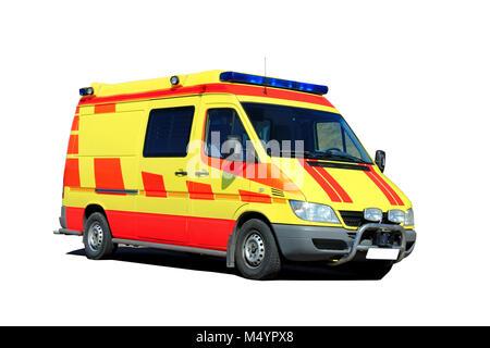 Ambulance Isolated over white background. - Stock Photo
