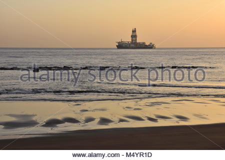 Offshore oil rig platform in the Atlantic ocean near Las Palmas Gran Canaria Canary Islands Spain. - Stock Photo