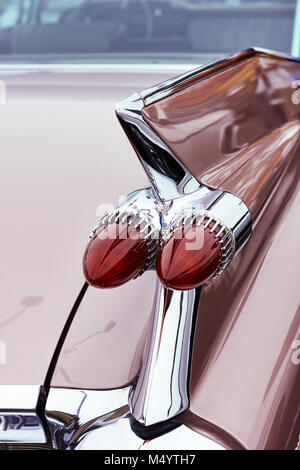 Rear view and tail fins of a 1959 Cadillac Eldorado - Stock Photo