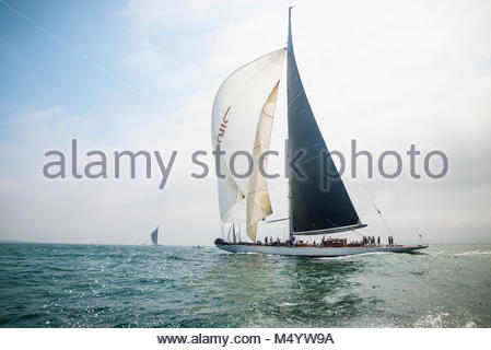 Ranger sailing downwind with white spinnaker raised in the J Class World Championship hosted in Newport, August - Stock Photo