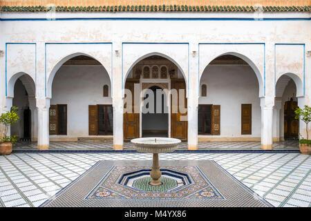 Courtyard and small fountain of Bahia Palace, Marrakesh, Marrakesh-Safi, Morocco - Stock Photo