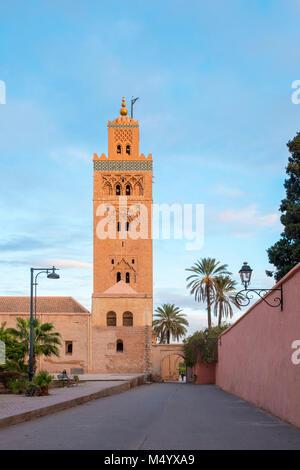 12th century Koutoubia Mosque at sunset, Marrakesh, Marrakesh-Safi, Morocco