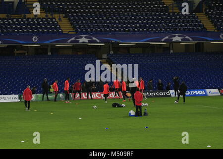 Chelsea, London, UK 19th February, 2018  FC Barcelona players training on the pitch at Stamford Bridge prior to - Stock Photo