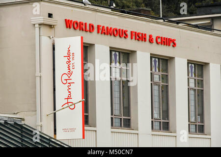 Bournemouth, Dorset, UK.  19th February 2018.  Harry Ramsden restaurant on Bournemouth seafront.  Picture Credit: - Stock Photo