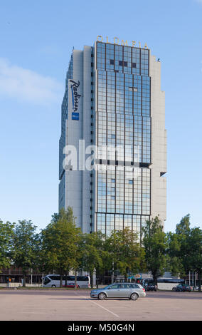 Radisson BLU Hotel Olympia in Tallinn, street Liivalaia. The hotel is built for the 1980 Olympic Games - Stock Photo