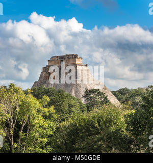 Pyramid of the Magician in Uxmal, Yucatan, Mexico - Stock Photo