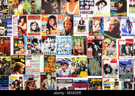Collection of old covers of international music magazines / supermarket tabloids - Stock Photo