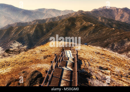 snow covered trail - Stock Photo