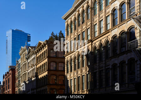 Soho loft building facades at Sunset. Manhattan, New York City - Stock Photo