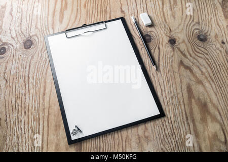 Clipboard blank paper - Stock Photo