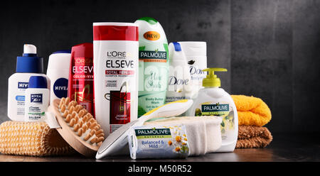 Composition with assorted global body care and beauty brands - Stock Photo