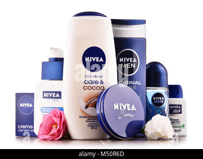 Variety of Nivea body care products - Stock Photo