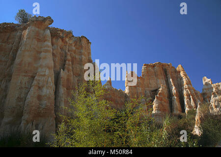 Les Orgues, sandstone pillars eroded by water and wind,Ille-sur-Têt, Pyrénées-Orientales, Occitanie, France - Stock Photo
