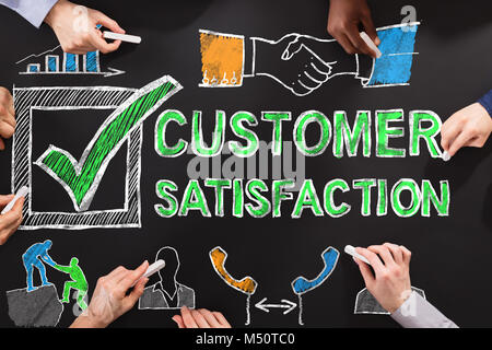 People Drawing Customer Satisfaction Survey Concept On Blackboard - Stock Photo