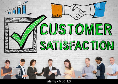 Group Of People Standing In Front Of Customer Satisfaction Survey Concept - Stock Photo