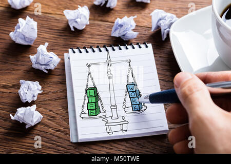 Work Life Balance Drawing In Notepad At Desk - Stock Photo