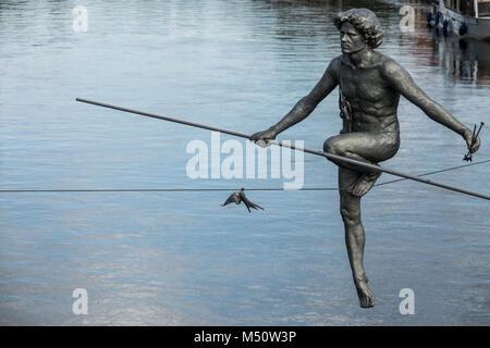 The tightrope walker sculpture closeup - Stock Photo