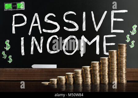 Passive Income Word On Blackboard Behind Stacked Coins - Stock Photo