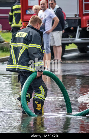 Fire Service Pumping Out Flooded Cellar Using Awg Ejector