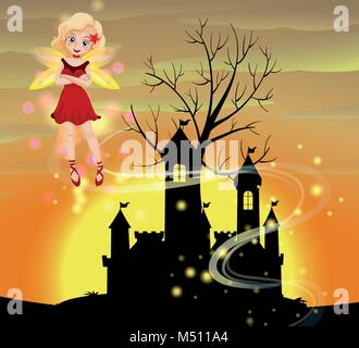 Silhouette scene with fairy flying illustration - Stock Photo