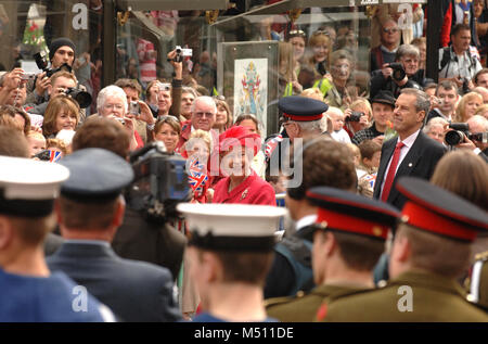 Queen Elizabeth II walks through Windsor on her 80th Birthday. WINDSOR, BERKS, ENGLAND.  21st APRIL 2006. - Stock Photo