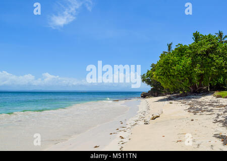 Beautiful beach with blue sky and turquoise water, Dominican Republic, caribbean sea - Stock Photo