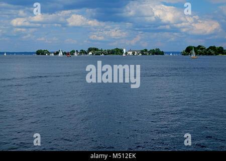 Lake Chiemsee with Fraueninsel Island, Bavaria, Germany - Stock Photo