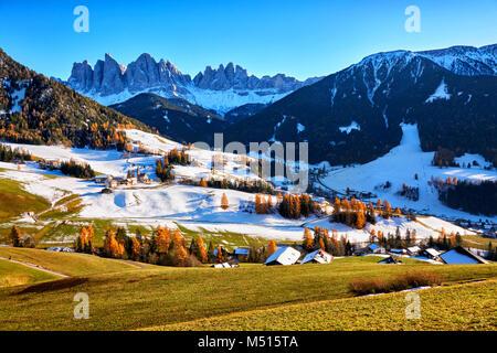 panoramic view of St. Maddalena village, Dolomites, Italy - Stock Photo