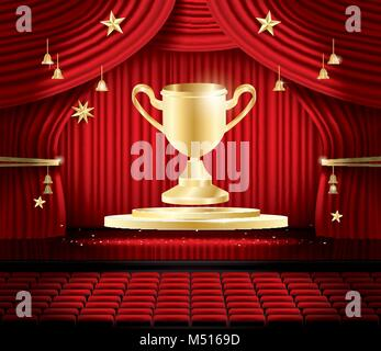 Golden Winner Cup and Red Stage Curtain. Vector illustration. Theater, Opera or Cinema Scene. Light on a Floor. - Stock Photo