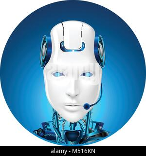Technical support icon. Chat bot web assistance. Robot in headphone. Front view - Stock Photo