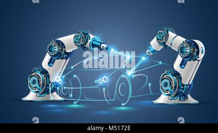 Robot welder in automobile industry. White robots welding car body on automobile factory. The robots draw the outline - Stock Photo