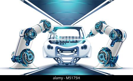 Robotic arms works on factory on manufacture of cars. Industrial robotic welders weld the car body on the Assembly - Stock Photo
