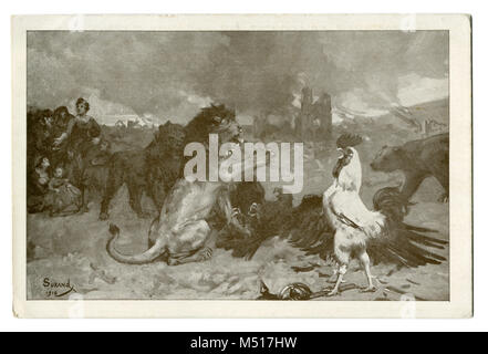 Old French postcard: Symbolism: The Union of the Entente: England (lion), France (rooster), Russia (bear) and Belgium - Stock Photo