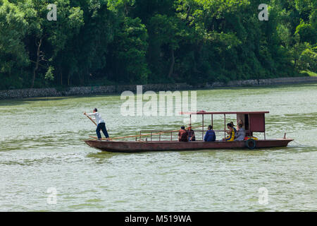 rowing boat on the river li  guilin china - Stock Photo