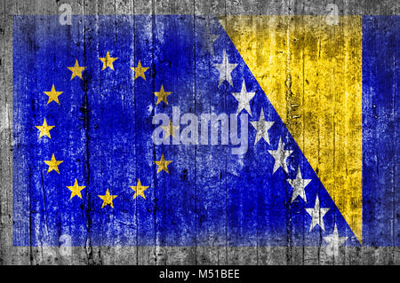 EU and Bosnia and Herzegovina flag on concrete wall - Stock Photo