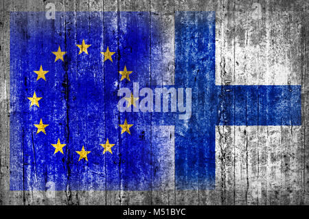 EU and Finland flag on concrete wall - Stock Photo