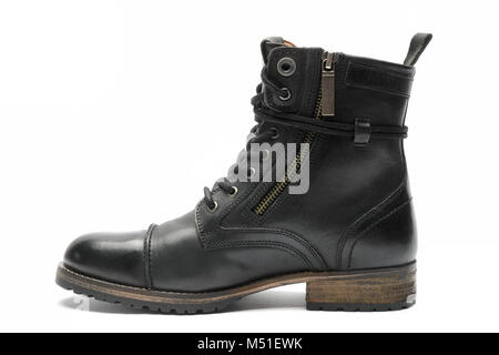 Black leather boot isolated on white background - Stock Photo