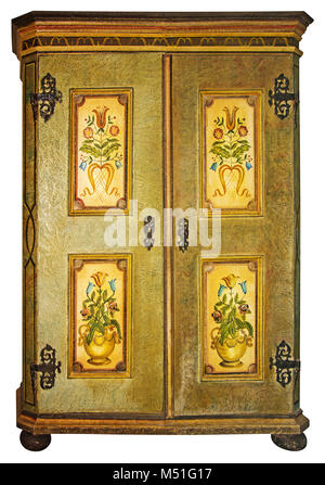 Vintage painted wooden wardrobe isolated with Clipping Path on white background - Stock Photo