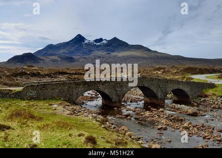 United Kingdom, Scotland, Inner Hebrides archipelago: Isle of Skye. The Cuillins Mounts viewed from Sligachan - Stock Photo
