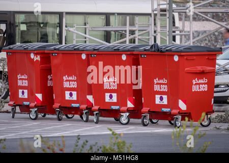 Red and Modern Waste / Garbage containers  at Cultural District Abu Dhabi - Stock Photo